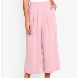 Topshop Pink Pleated Culottes